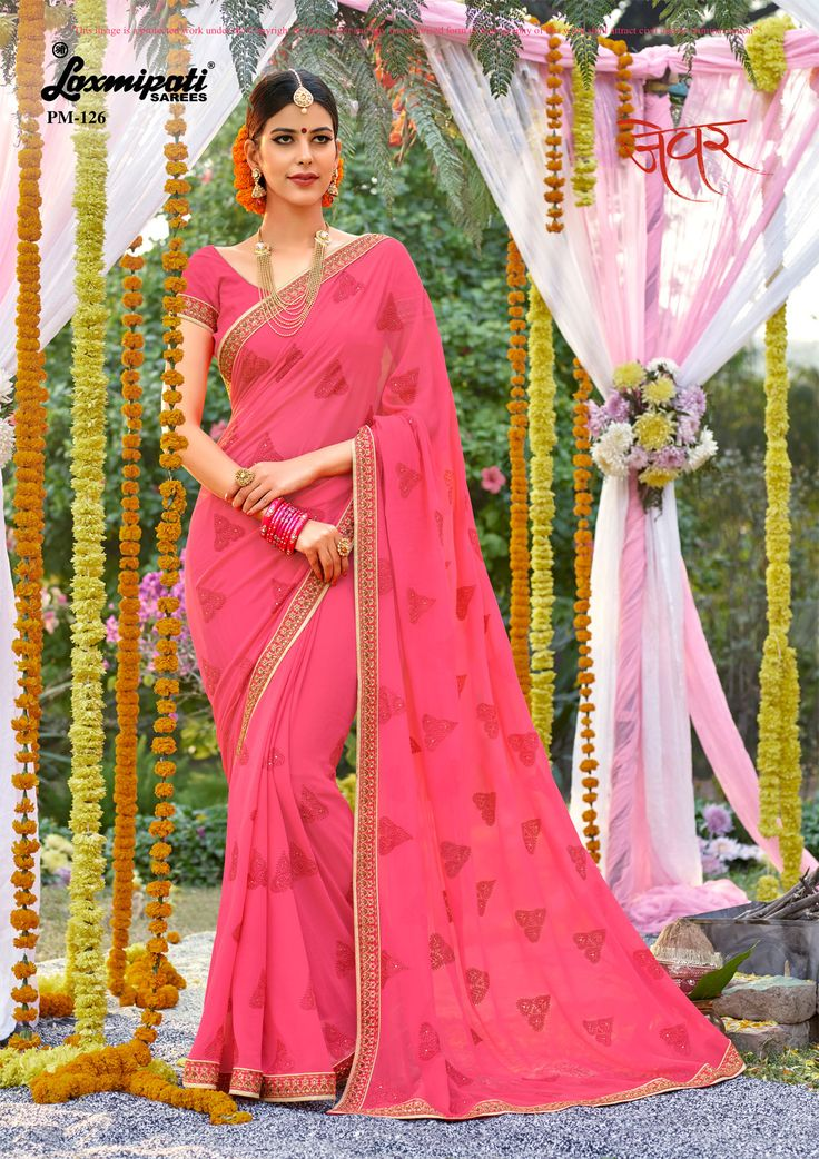 Get this eye-catching bright pink #georgette #embroidery_saree with stone work and bright pink #bhagalpuri #silk blouse along with rawsilk border from #Laxmipati_Saree. #Catalogue- Zever Designnumber- 126 Price -₹ 3083.00