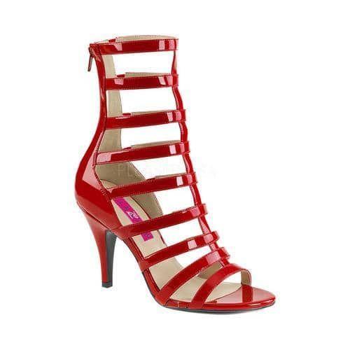 Women's Pleaser Label Dream 438 Cage Shoe Red Patent