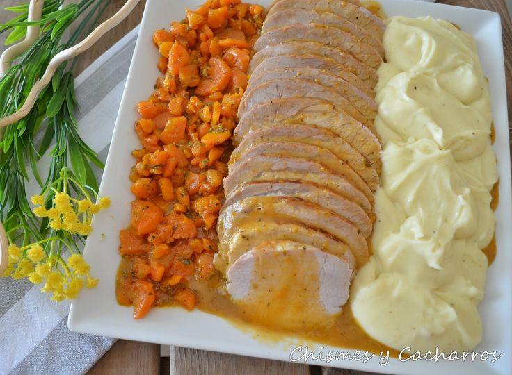 lomo de cerdo, salsa de zanahorias, lomo en salsa, lomo en varoma, thermomix.