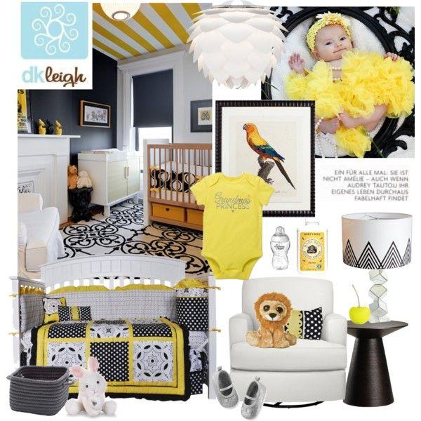 Black White & Yellow Girl Nursery Bedding by melissa-de-souza on Polyvore featuring interior, interiors, interior design, home, home decor, interior decorating, Nuevo, Vita, Cyan Design and Le Creuset