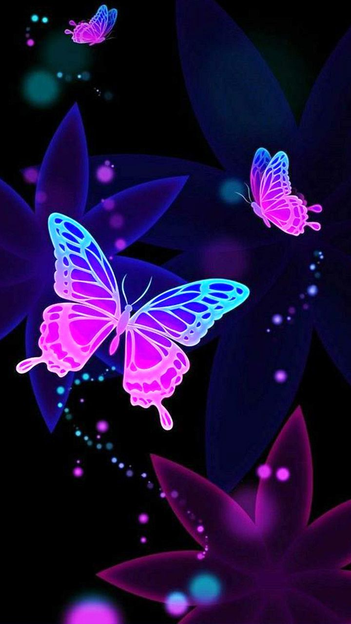 fb142752d8 Float like a butterfly. Neon butterfly wallpaper for your phone screen.  #nature #art