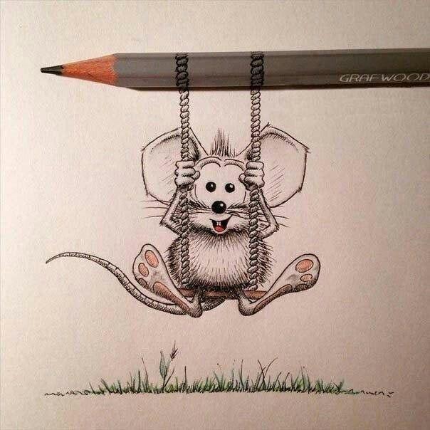 Поздравления, картинка прикольного карандаша