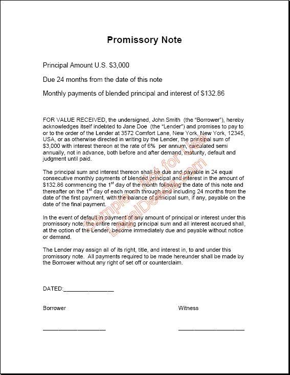Printable Sample Promissory Note Sample Form