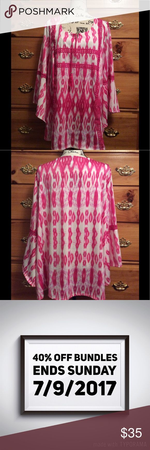 40% off Bundles 💗Boho Hot Pink Top 3X From New Directions. This is the coolest top. Size 3X, polyester Spandex blend. I love the BOHEMIAN bell style. Pretty detailing around the arms an the body of the top. Ties in the front with cute matching pink ties. Worn 1 time. In mint condition as close as new as it can be. new directions Tops Blouses