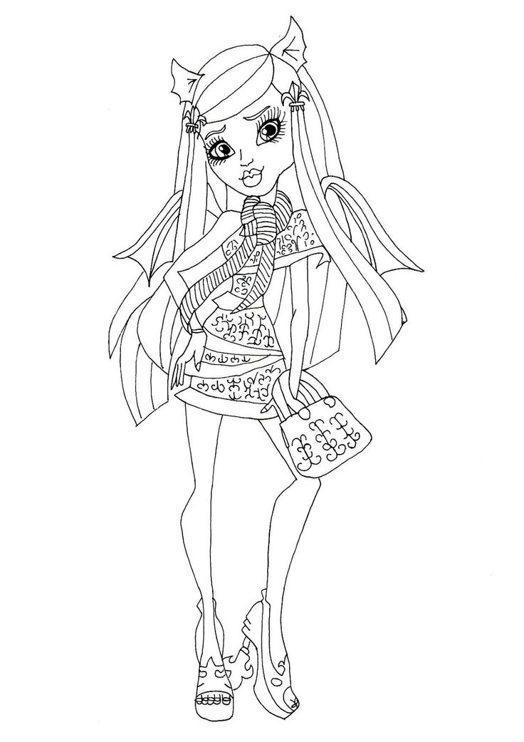 Monster High Rochelle Gregory Goyle Carry Bag Coloring Page