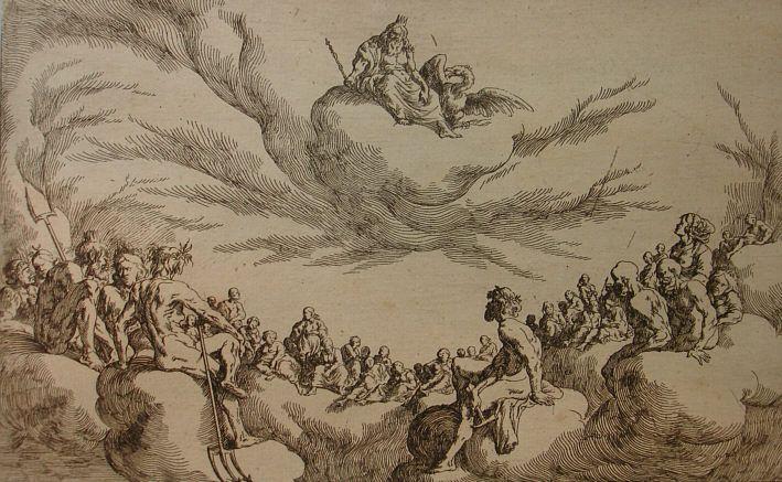 Götterrat auf dem Olymp Divine council on the Olympus (Johann Wilhelm Baur, Edition 1649, Detailfoto: H.-J. Günther 2007) Ovid, Met. I, 167