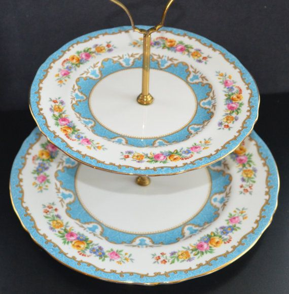 Crown Staffordshire Double Tier Cake Stand by ChristiesCurios