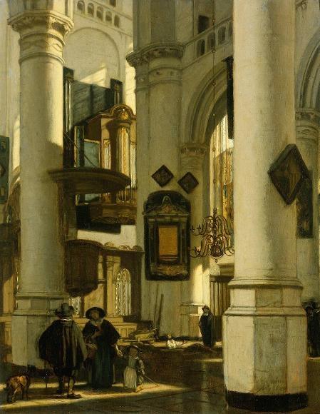 Interior de una iglesia gótica protestante Emanuel De Witte - oleo en panel -1669 - (Rijksmuseum (Amsterdam, Netherlands))