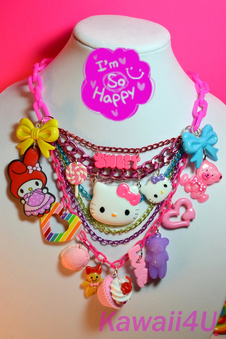 Sweet Madness Super Chunky Hello Kitty With Sweet Friends Kawaii Charms Special Necklace.