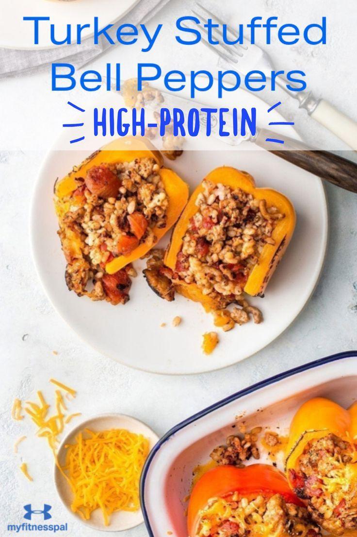 Healthy Turkey Stuffed Peppers Recipe Myfitnesspal In 2020 High Protein Dinner Healthy Dinner Under 300 Calories Ground Turkey Recipes Healthy