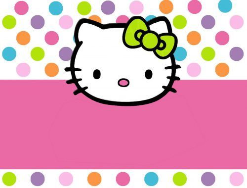 If you need some cute invitation card, you can use this Hello Kitty baby shower decorations. It's featured with cute Hello Kitty's head decorations with several colorful polka-dot accessories. At the center, there is a large blank space that you can use to print some words, wishes or another texts as you like.