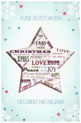 Fijne kerstdagen - gelukkig Nieuwjaar!   Merry christmas! Moderne kerstkaarten in diverse Europese talen