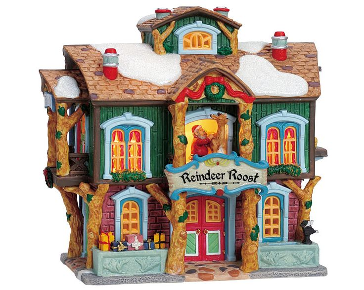 Lemax Reindeer Roost SKU# 05488.   Introduced in 2000 and retired in 2004, this porcelain Lighted building was made for the Caddington Collection.