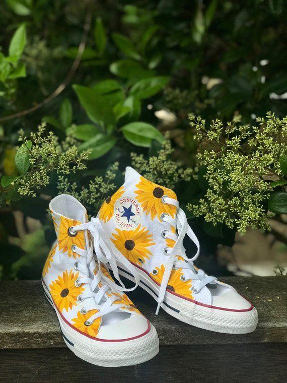 c6a10ac97b28e Hand-Painted Sunflower Shoes / Hand-Painted Daisy Shoes / Custom ...