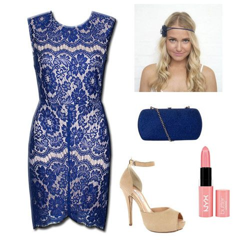 Style Guide - Outfit Inspo! The Blue Lace Formal Dress with Summerblossom headpiece, blue clutch bag, pink lipstick and nude shoes. Spring Racing! Autumn Racing! Ready for The Races...