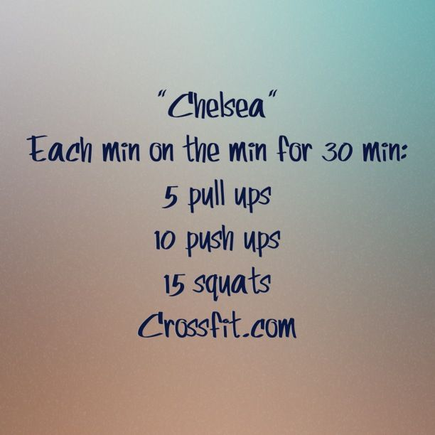 """WOD """"Chelsea"""" Crossfit..someday I will do a damn pullup. Damn these mom arms!!!!"""