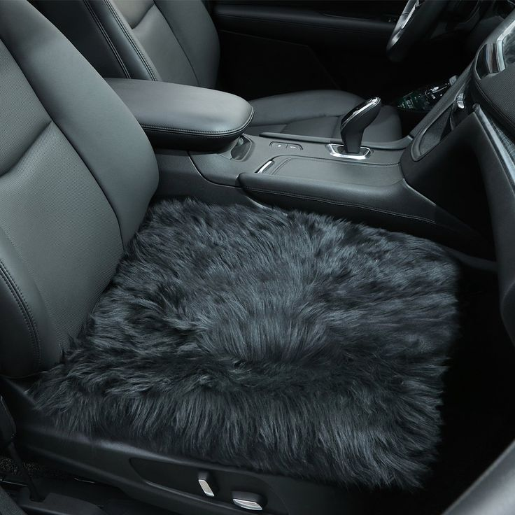 Sheepskin Seat Covers, Authentic Australian Soft Wool Car Warm Seat Cushions Cover Pad for Winter Universal Fit for Cars Auto Supplies Driver Seat Office Chair(Black)