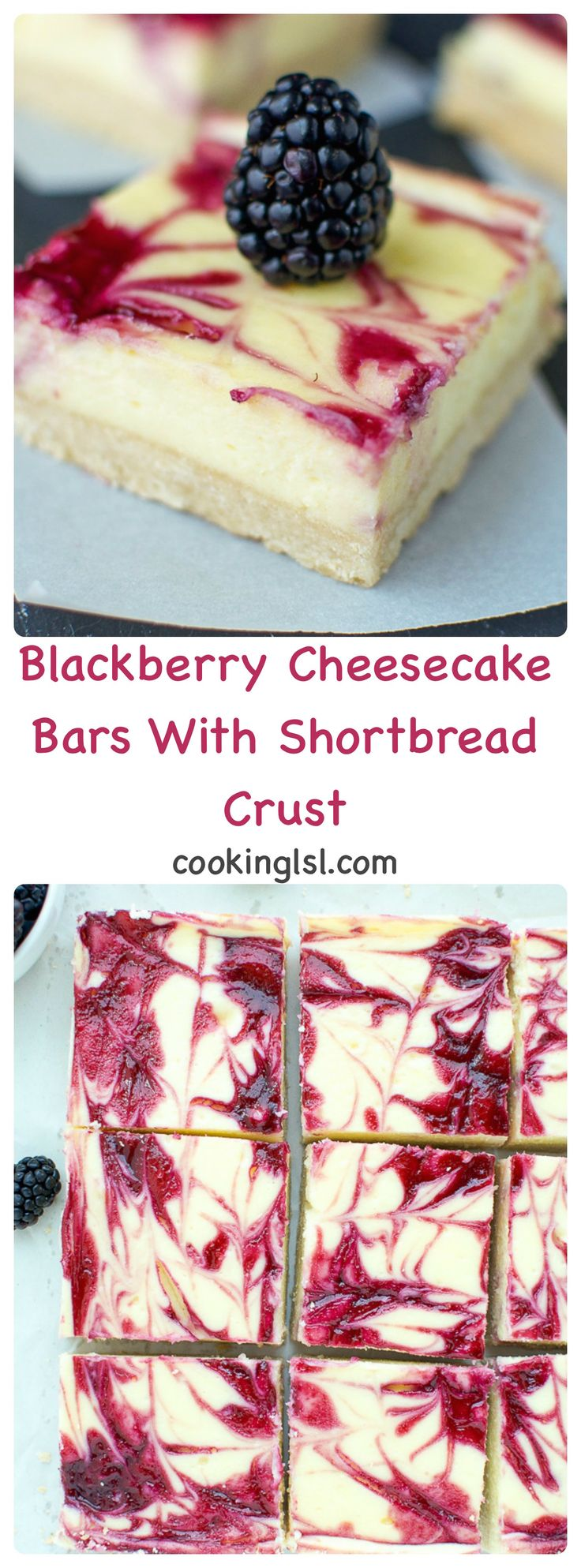 Blackberry Cheesecake Bars With Shortbread Crust #cheesecake #blackberry