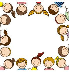 Vector image of Cute cartoon kids frame Vector Image, includes boy, girl, happy, school & drawing. Illustrator (.ai), EPS, PDF and JPG image formats.