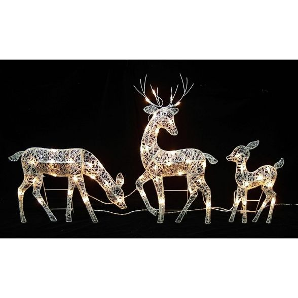 Northlight Set Of 3 White Glittered Doe Fawn And Reindeer Lighted Christmas Outdoor Decoration Outdoor Christmas Reindeer Lights Outdoor Christmas Decorations