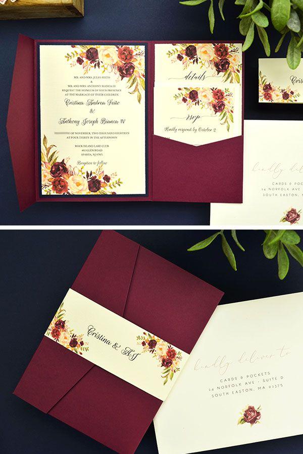 My Diy Story Burgundy Navy Pocket Invitation Cards Pockets Design Idea Blog Pocket Wedding Invitations Wedding Invitations Diy Fun Wedding Invitations