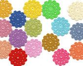 Blooming crochet flower doily - colourful doilies spring collection set of 16, motif, applique, card toppers, bag decoration, scrapbook, sew