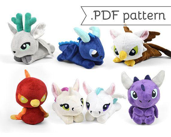 Fairy Tale Sewing Plush .pdf Pattern Collection Phoenix Unicorn Stag Dragon Pegasus Kelpie Griffin