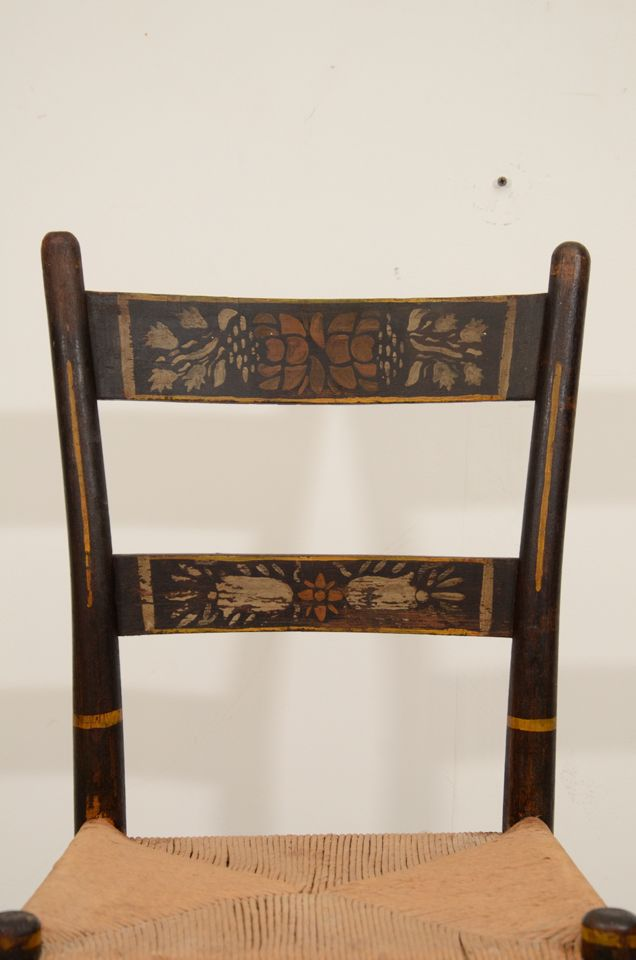 Beautiful A Set Of Six American Stenciled Hitchcock Style Chairs