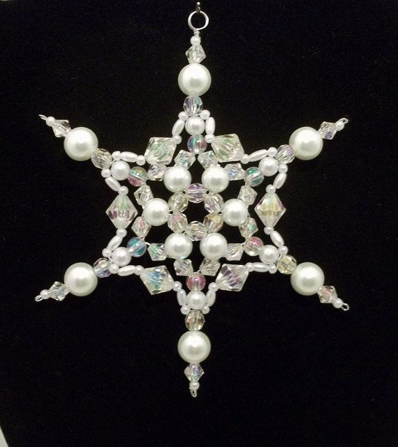 Snowflake Ornament White Pearl and Clear AB by BeadStudio59