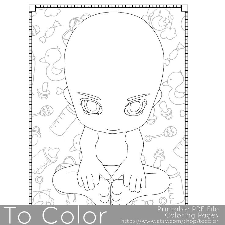 this printable baby boy coloring page for grownups features a cute boy who is sitting