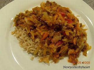 Oksekødsgryde med hvidkål, gulerødder og peberfrugt……….