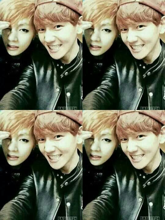 *edited* Baekhyun and his son V. Now we need Daehyun. Lol eyeliner family!!! #EXO #BTS