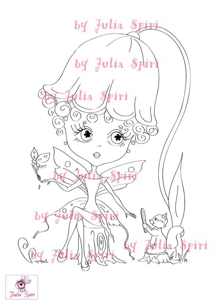 Digital Stamps Digi stamp Coloring pages Fairy by JuliaSpiri