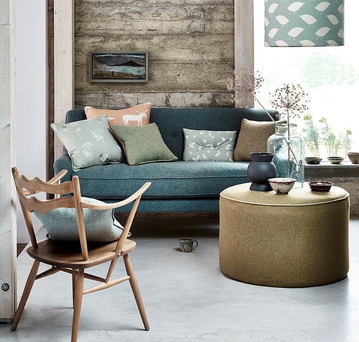 tweeds make an interesting addition to a Scandinavian inspired living room