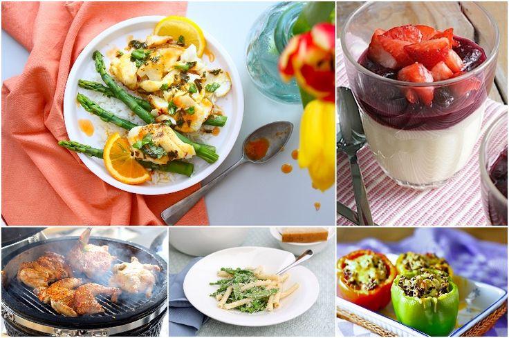 Francesca's Familie Weekmenu #132 met o.a.: kruidige bulgur salade, gevulde paprika's, pasta met lentegroenten, panna cotta met rabarber en kip piri-piri // Francesca Kookt