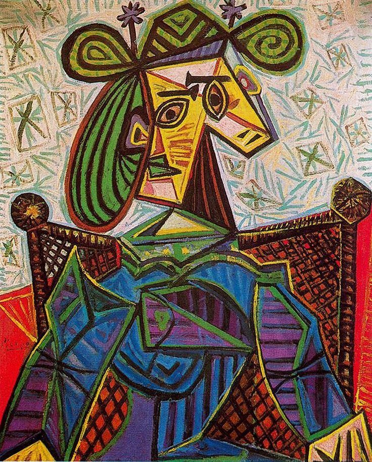 Woman sitting in an armchair, 1941  Pablo Picasso  I like the use of the shapes and the use of the bright colors in this painting