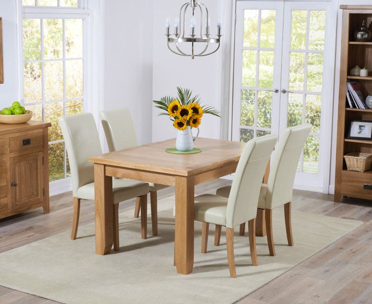 SOLID OAK EXTENDABLE DINNING TABLE SET – WOODS FURNITURE