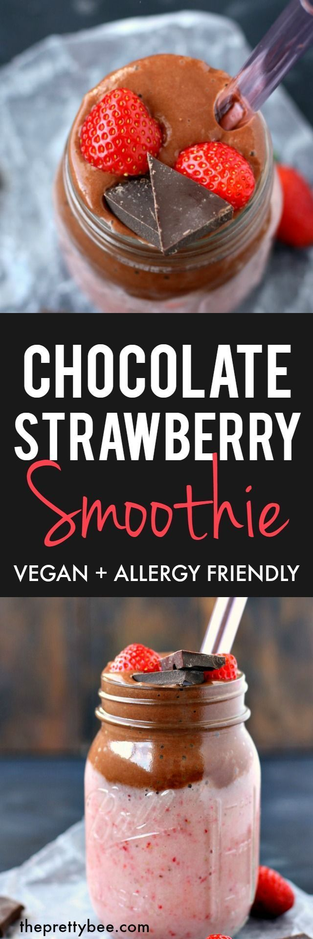 This chocolate strawberry smoothie is dairy free, vegan, and a healthy sweet treat!