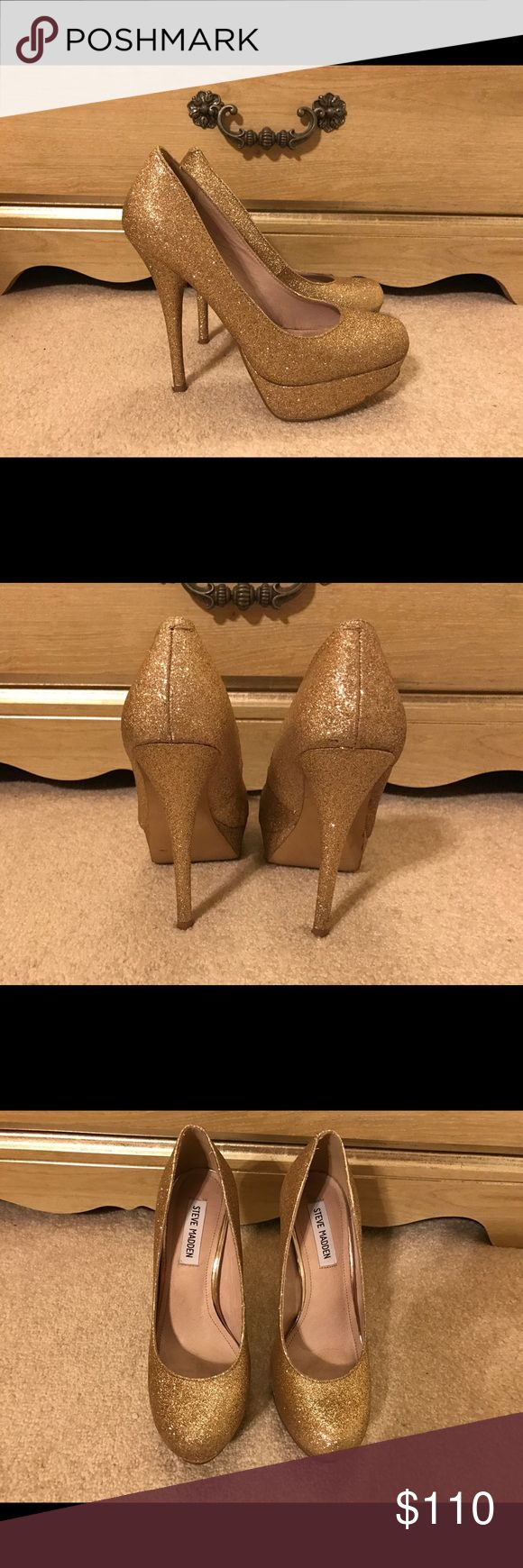 ✨BEAUTIFUL GLITTER GOLD STEVE MADDEN SHOES✨SALE‼️ ✨BEAUTIFUL GLITTER GOLD STEVE MADDEN SHOES✨ Perfect Condition ✨Size 8 1/2 ‼️‼️SALE‼️‼️‼️❤️❤️❤️ Steve Madden Shoes Heels