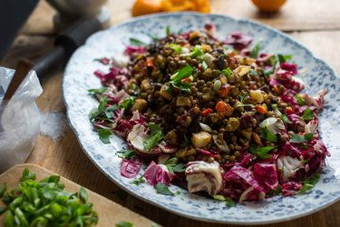 ROOT VEGGIES AND LENTILS  1 HR. 30 MIN.       NYTIMES
