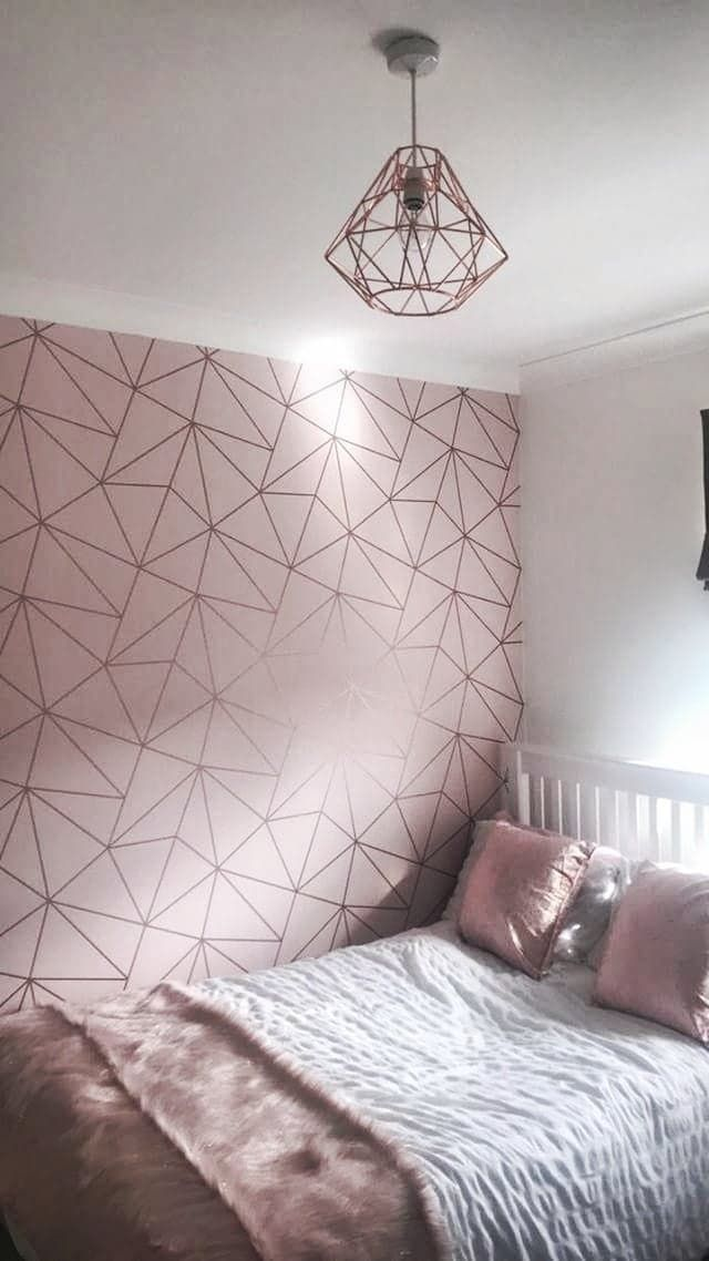 Zara Shimmer Metallic Wallpaper Soft Pink Rose Gold Room