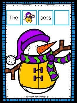 FREE Work on vocabulary and increasing MLU with this easy prep activity.  This one is great for any winter/snow theme you may be using!