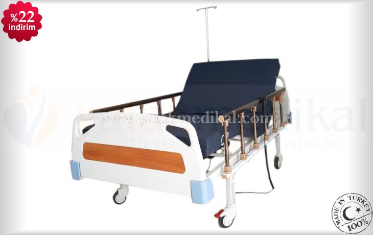 Abs Başlıklı Tabanca Korkuluklu 2 Motorlu Hasta Yatağı