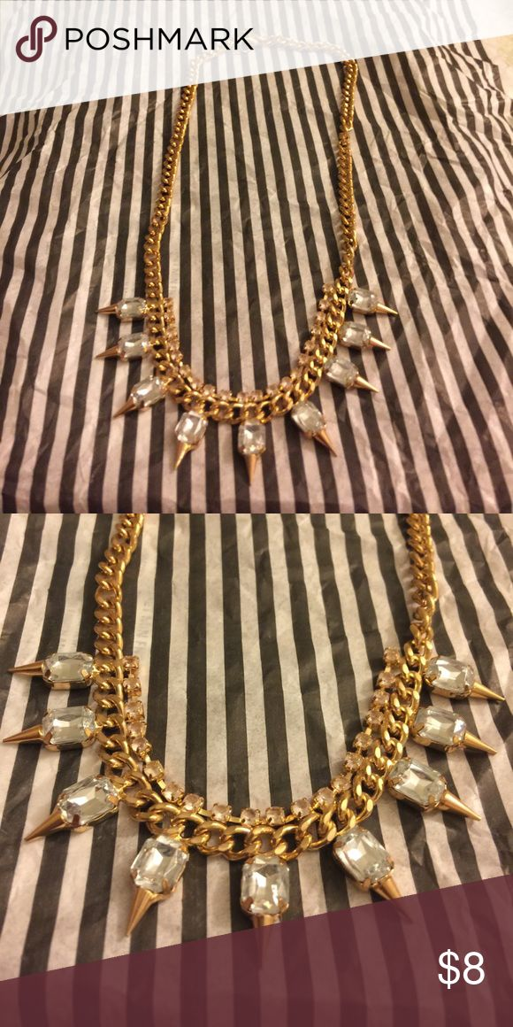 Trendy gold spike necklace Gold necklace. Worms once Forever 21 Jewelry Necklaces