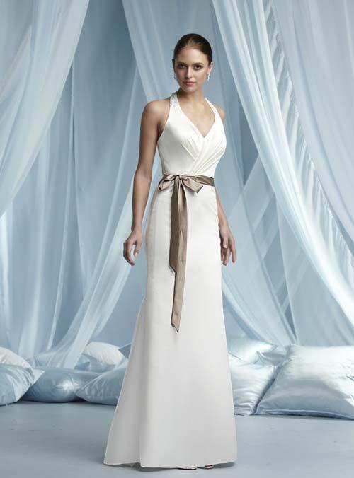 Elegant Wedding Dresses For The Mature Bride : Simple halter wedding dress for older bride