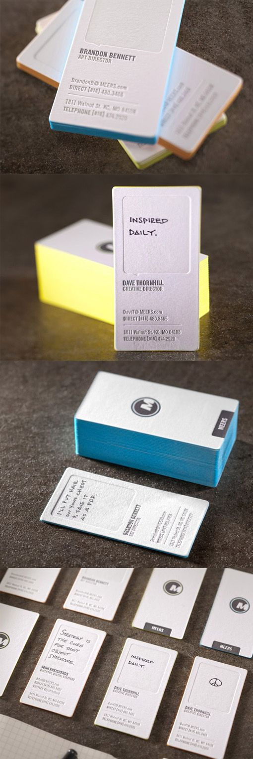 Clever Customisable Edge Painted Letterpress Business Card Design