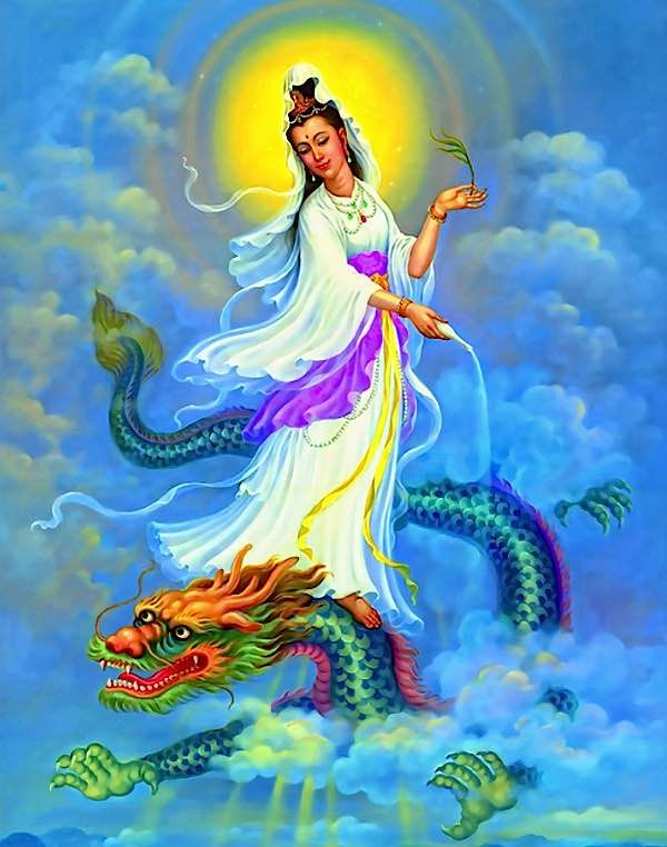 Millions of devotees around the world call on the name of Guan Yin (Kuanyin) Goddess of Mercy, in times of need, fear, or despair. Aside from her best-known role as Compassion embodied — she is, after all, none other than Avalokiteshvara — she also protects against the ten great fears. [For the Ten Great Salvations …