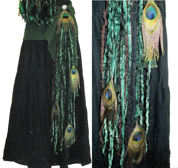 Tribal bellydance PEACOCK FEATHER hip & hair TASSEL Forest Faery Fantasy Fusion hip scarf skirt adornment Hair jewelry Fairy reenactment sca. €18,50, via Etsy.