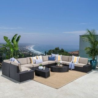 Santa Cruz Outdoor 12-piece Brown Wicker Sofa Set with Cushions by Christopher Knight Home | Overstock.com Shopping - The Best Deals on Sofas, Chairs & Sectionals