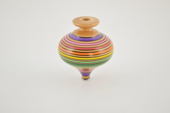 Wooden spinning top 11cm/4.3inches by CraftsAndMetal on Etsy
